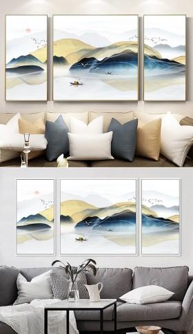 原创意境水墨山水抽象云雾山川新中式装饰画三联