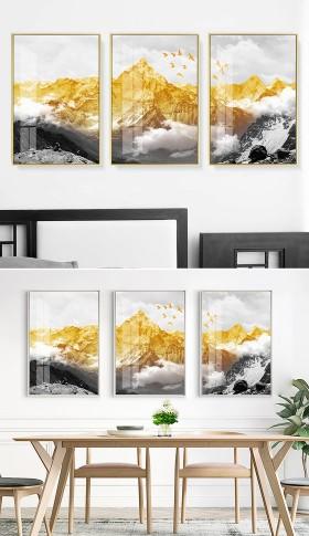 原创现代抽象北欧金色雪山脉客厅装饰画三联画