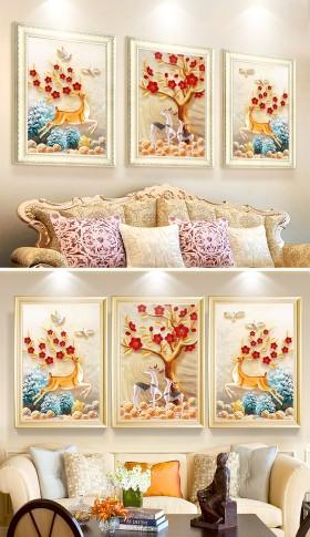 原创欧式复古高档麋鹿发财树红梅北欧三联装饰画