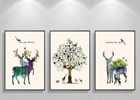 原创北欧简约吉祥树麋鹿花朵装饰画三联无框画