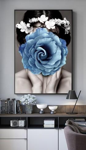 原创北欧简约现代创意美女蓝色花卉无框画装饰画