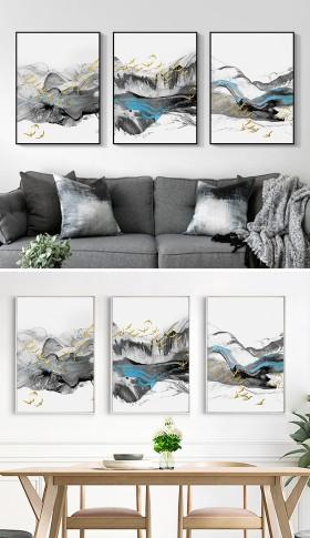 原创飞鸟新中式抽象蓝色水墨山水装饰画无框画