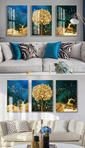 原创新中式现代发财树麋鹿飞鸟客厅晶瓷装饰画
