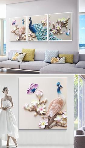 原创立体浮雕孔雀现代简约抽象三联装饰画