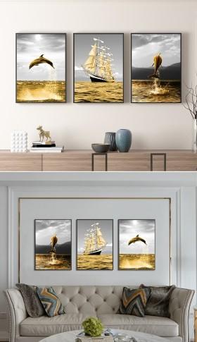 原创北欧艺术黑白金色帆船海豚客厅装饰画