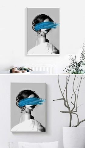 原创北欧简约摄影人物蓝色肌理抽象客厅装饰画