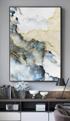 原创飞鸟新中式水墨山水线条抽象装饰画背景墙