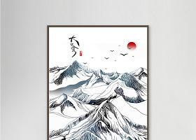 新中式中国风水墨山水意境水墨背景墙装饰画