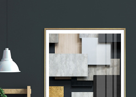 原创现代简约几何拼接立体工业风艺术装饰画-版权可商用