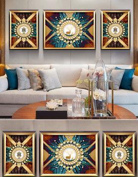 原创古典欧式复古抽象金色麋鹿奢华客厅装饰画-版权可商用