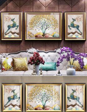 原创欧式复古抽象麋鹿发财树大理石客厅装饰画-版权可商用