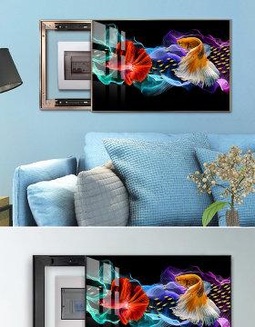 原创现代简约彩色金鱼电表箱装饰画-版权可商用