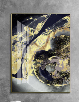 原创万里河川暗金河流财源新中式新款抽象装饰画-版权可商用