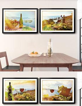 原创北欧简约红酒酒杯餐厅装饰画酒店走廊挂画-版权可商用