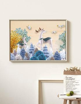 原创3D立体麋鹿发财树电表箱装饰画-版权可商用