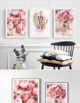 原创粉色玫瑰装饰画客厅无框画小清新风格装饰画-版权可商用