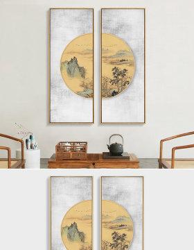 原创现代新中式国画水墨山水圆形装饰画双联画-版权可商用