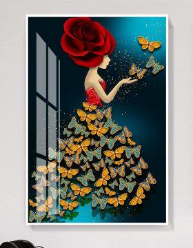 原创现代简约芭蕾舞者3D蝴蝶北欧晶瓷装饰画-版权可商用