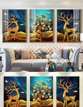 原创欧式3D立体麋鹿发财树现代简约三联装饰画-版权可商用