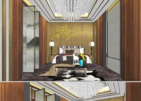 原创现代中式主卧室设计SU模型-版权可商用