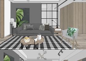 原创北欧风格客厅餐厅室内设计SU模型-版权可商用