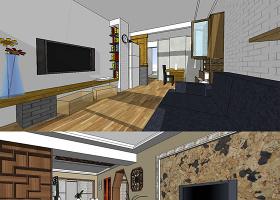 原創萬科住宅別墅樣板房室內設計精品Su模型