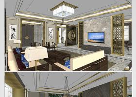 原創精品新中式別墅整體SU模型-版權可商用