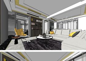 原创现代北欧风格住宅室内家装设计方案SU模型-版权可商用
