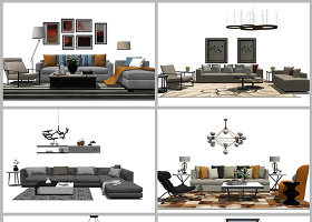 原创现代轻奢客厅家具组合su模型-版权可商用