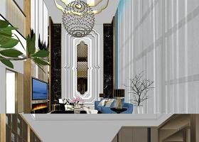 原创后现代/轻奢场景客餐厅SU模型-版权可商用