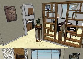 原创住宅别墅装修样板房客厅中式80平SU模型-版权可商用