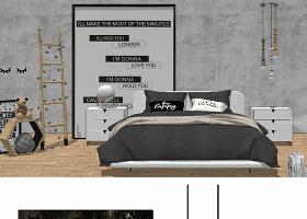 原创北欧日式LOFT工业风轻奢场景家具SU模型-版权可商用