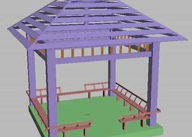 3DMAX建筑模型库之方亭子