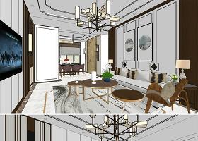 原创新中式别墅家装客厅室内设计餐厅室内设计方案SU模型-版权可商用
