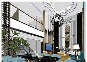 原创新中式风格室内装修草图SU模型-版权可商用