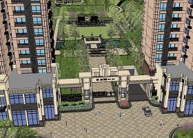 原创新古典主义风格居住区景观设计SU精细模型-版权可商用