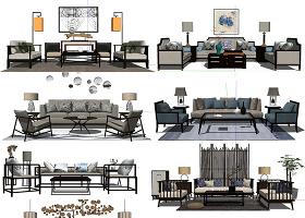 原创精选40款新中式室内家具陈设SU模型-版权可商用