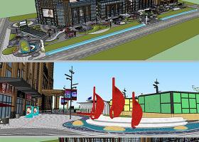 原創現代商業街景觀設計su模型-版權可商用