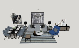 精品免费现代风格家居客厅 餐厅su模型下载 精品免费现代风格家居客厅 餐厅su模型下载