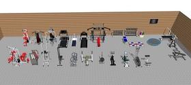 精品免費室內健身器材組合su模型下載 精品免費室內健身器材組合su模型下載