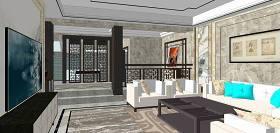 中式别墅室内设计SU模型下载 中式别墅室内设计SU模型下载