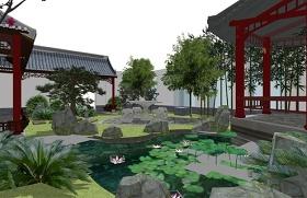 精品免费中式屋顶花园景观SU模型下载 精品免费中式屋顶花园景观SU模型下载