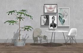 现代休闲桌椅组合SU模型下载 现代休闲桌椅组合SU模型下载