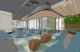 现代办公室室内设计SU模型下载 现代办公室室内设计SU模型下载