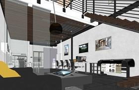 精品免费现代工业风工作室室内设计SU模型下载 精品免费现代工业风工作室室内设计SU模型下载