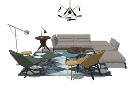 意式風格客廳沙發茶幾吊燈組合SU模型下載 意式風格客廳沙發茶幾吊燈組合SU模型下載