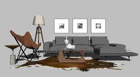 沙发茶几椅子挂画软装组合SU模型下载 沙发茶几椅子挂画软装组合SU模型下载