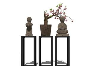 精品免费新中式盆栽饰品摆件su模型下载 精品免费新中式盆栽饰品摆件su模型下载