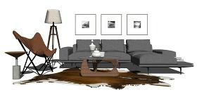 北欧风格客厅沙发茶几落地灯装饰画组合su模型下载 北欧风格客厅沙发茶几落地灯装饰画组合su模型下载