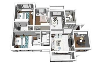 精品免费美式风格四房两厅室内设计SU模型下载 精品免费美式风格四房两厅室内设计SU模型下载